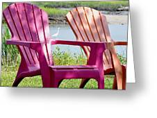 Chairs And Egret Greeting Card