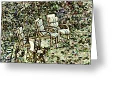 Chairs In Backyard Greeting Card