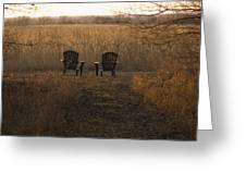 Chairs Overlook A Scenic Pasture Greeting Card