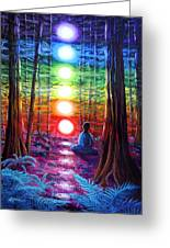 Chakra Meditation In The Redwoods Greeting Card by Laura Iverson