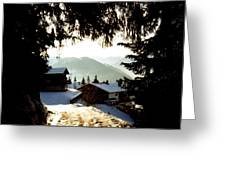 Chalet Through The Trees Greeting Card