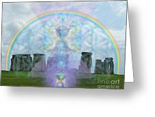 Chalice Over Stonehenge In Flower Of Life And Man Greeting Card