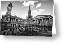 chamberlain memorial in chamberlain square with Birmingham museum and art gallery and town hall UK Greeting Card