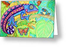 Chamelion And Rainforest Frogs Greeting Card