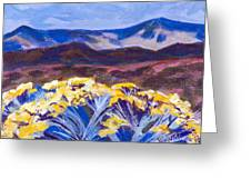 Chamisa And Mountains Of Santa Fe Greeting Card