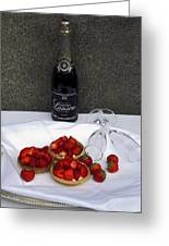 Champagne Bottle With Strawberry Tarts And 2 Glasses Greeting Card