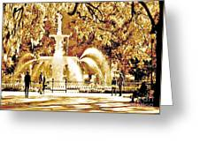 Champagne Twilight Forsyth Park Fountain In Savannah Georgia Usa  Greeting Card