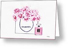 Chanel Bag With Pink Peonys Greeting Card