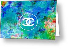 Chanel Blue White Red Black 10 Greeting Card