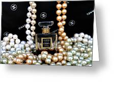 Chanel Coco With Pearls Greeting Card