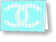 Chanel Logo Blue Teal White Greeting Card