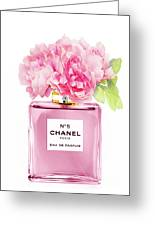 Chanel N5 Pink With Flowers Greeting Card