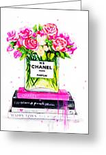 Chanel Nr 5 Flowers With  Perfume Greeting Card