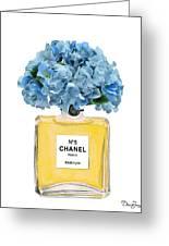 Chanel Perfume Nr 5 With Blue Hydragenias  Greeting Card