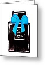 Chanel Perfume With Blue Ribble Greeting Card