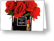 Chanel Perfume With Red Roses Greeting Card