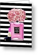 Chanel Poster Pink Perfume Hydrangea Print Greeting Card