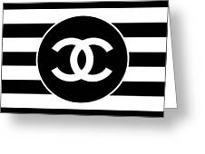 Chanel - Stripe Pattern - Black And White 2 - Fashion And Lifestyle Greeting Card