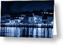 Chania By Night In Blue Greeting Card
