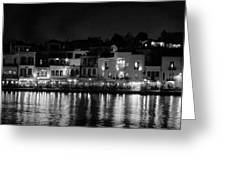 Chania By Night In Bw Greeting Card