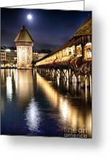Chapel Bridge At Night In Lucerne Greeting Card