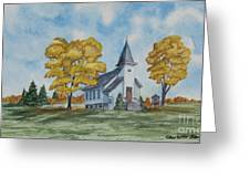 Chapel In Fall Greeting Card