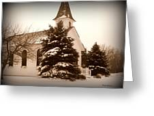 Chapel In The Snow Greeting Card by Trina Prenzi