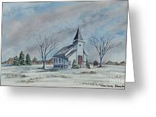 Chapel In Winter Greeting Card