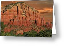 Chapel Of The Holy Cross At Sunset Greeting Card