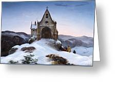 Chapel On A Mountain In Winter Greeting Card