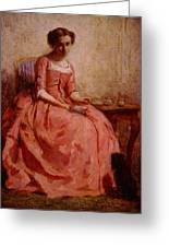 Chaplin Charles Girl In A Pink Dress Reading With A Dog Greeting Card