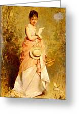 Chaplin Charles La Jeune Fille Aux Colombes Greeting Card