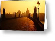 Charles Bridge Prague At Sunrise Greeting Card