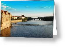 Charle's Or Carl's Bridge View In Prague Greeting Card