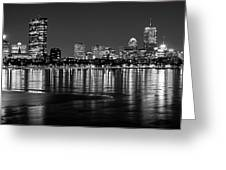 Charles River Boston Ma Prudential Lit Up Not Done New England Patriots Black And White Greeting Card