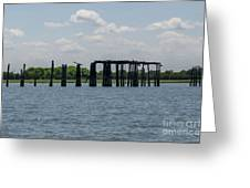 Charleston Export Coal Terminal Wooden Testle Greeting Card