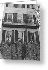 Charleston Style Home Black And White Greeting Card
