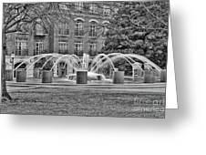 Charleston Waterfront Park Fountain Black And White Greeting Card