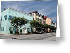 Charleston's Rainbow Row Greeting Card by Steavon Horne