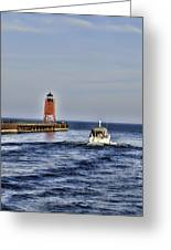 Charlevoix South Pier Light Greeting Card