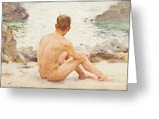 Charlie Seated On The Sand Greeting Card