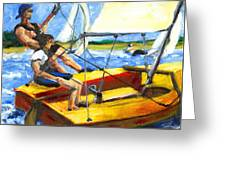 Charlies Race Boat Greeting Card
