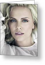 Charlize Theron Blue Eyed Blonde Blouse Celebrity Hollywood 31116 640x960 Greeting Card