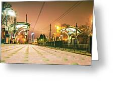 Charlotte City Skyline Night Scene With Light Rail System Lynx T Greeting Card