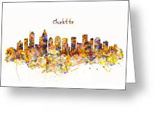 Charlotte Watercolor Skyline Greeting Card
