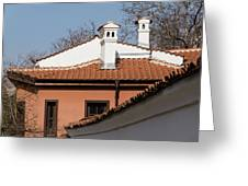 Charming Chimneys - White Stucco And Terracotta Juxtaposition Greeting Card