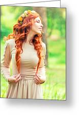 Charming Young Woman In The Forest Greeting Card