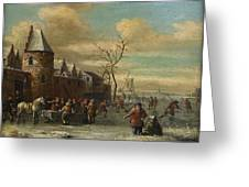 Charriot And Skaters Greeting Card