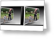 Chasing Bubbles - Gently Cross Your Eyes And Focus On The Middle Image Greeting Card