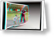 Chasing Bubbles - Use Red-cyan 3d Glasses Greeting Card